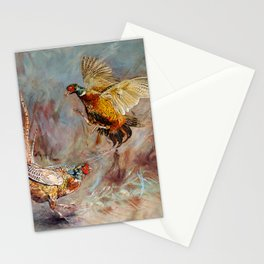 The Stramash. Male Pheasants fighting art. Stationery Cards