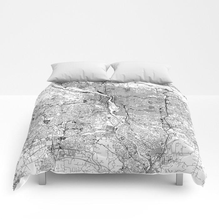 Portland White Map Comforters