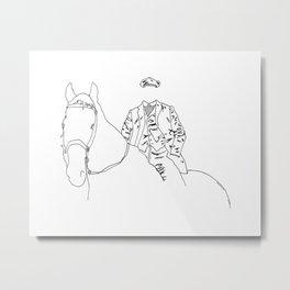 Horse and Fashion Blanc Metal Print