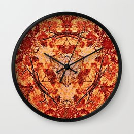 Red Flora Wall Clock