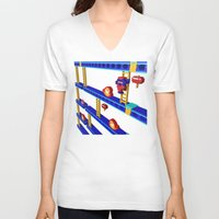 donkey kong V-neck T-shirts featuring Inside Donkey Kong stage 4 by Metin Seven