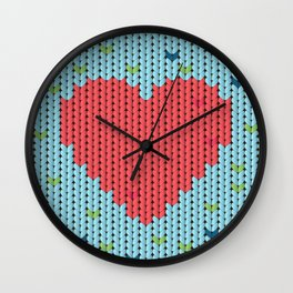 Knitted pattern with heart Wall Clock