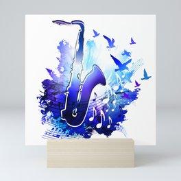 Saxophone music instruments design  Mini Art Print