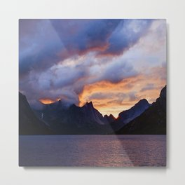 Powerful, Surreal Sunset Over Dramatic Mountain Lake Metal Print