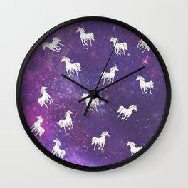 Unicorn in a starry sky Wall Clock