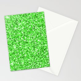Abstract modern neon green glitter Stationery Cards