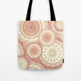 Delicate Gold Rose Mandala Pattern Tote Bag
