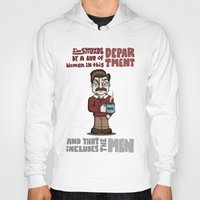 ron swanson Hoodies featuring Ron Swanson by maykel nunes