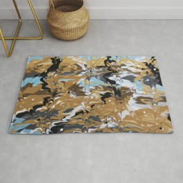 Abstract Music Gold Calypso pattern Rug