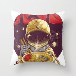 Astronaut Eating Time, Ramen Throw Pillow