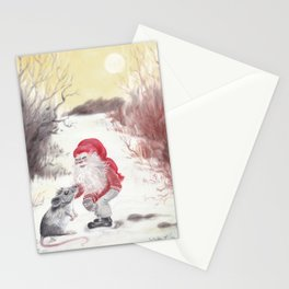 Gnome and mouse Stationery Cards