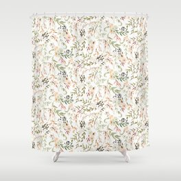 Dainty Intricate Pastel Floral Pattern Shower Curtain