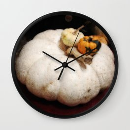 White Pumpkin | Three Pumpkins | Vintage Thanksgiving | Harvest Art Wall Clock