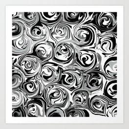 Onyx Black and White Paint Swirls Art Print