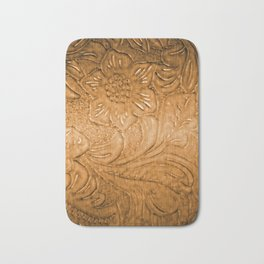 Golden Tan Tooled Leather Bath Mat