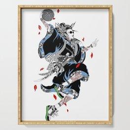 Japanese Illustration Geisha Popart Illustration Basketball Style  Serving Tray