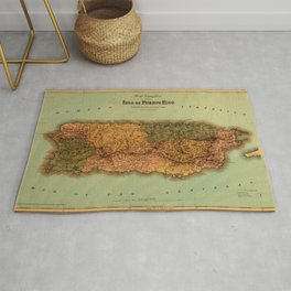 Map Of Puerto Rico 1886 Rug