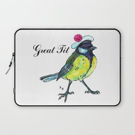 Great tit in white beret Laptop Sleeve