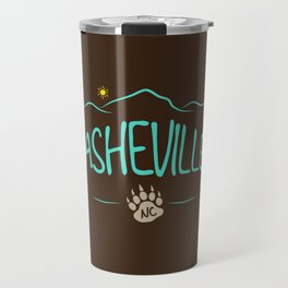 Asheville, NC - Black Bear Paw - AVL 14 Chocolate Brown Travel Mug