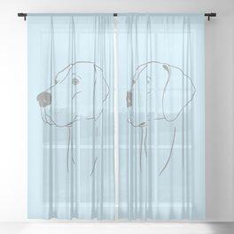 Weimaraner (Light Blue and Gray) Sheer Curtain