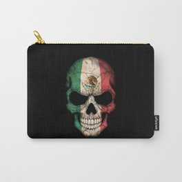Dark Skull with Flag of Mexico Carry-All Pouch