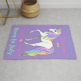 Pretty Rainbow Unicorns Are Born In July Rug