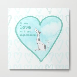 Love at first sight(hound) - Blue Metal Print