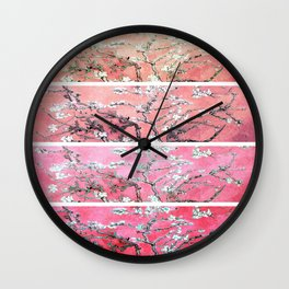 Van Gogh Almond Blossoms Deep Pink to Peach Collage Wall Clock