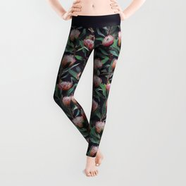 Evening Proteas - Pink on Charcoal Leggings