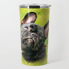 Cute French Bulldog - Frenchie with word pattern Travel Mug