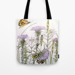 Bees Butterfly Thistle Watercolor Illustration Nature Art Tote Bag
