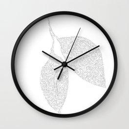 Leaf Monochrome Art Print-20 Wall Clock