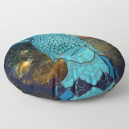 Blue Face of Buddha in the Galaxy Floor Pillow