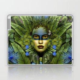 """Tropical green and indigo jungle Woman"" Laptop & iPad Skin"