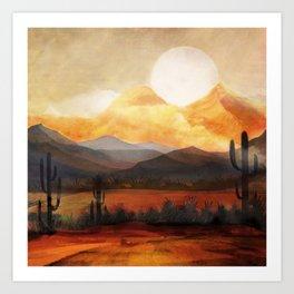 Desert in the Golden Sun Glow Art Print