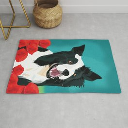 Border Collie And Poppies Rug