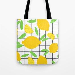 Lemon Pattern Grid Tote Bag