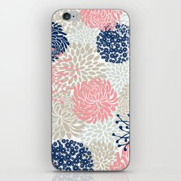 Floral Mixed Blooms, Blush Pink, Navy Blue, Gray, Beige iPhone Skin