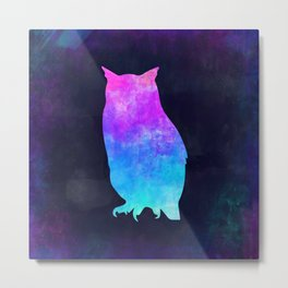 OWL IN SPACE // Animal Graphic Art // Watercolor Canvas Painting // Modern Minimal Cute Metal Print