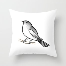 Cute bird on a twig- Tiny sparrow drawing in shades of grey Throw Pillow