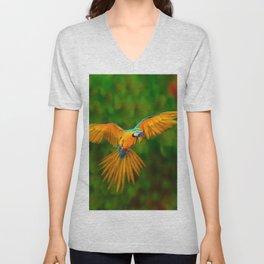Flying Golden Blue Macaw Parrot Green  Art Unisex V-Neck