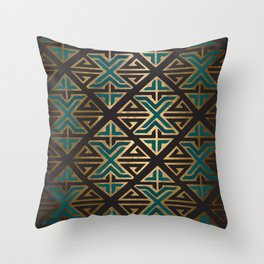 Art Deco Ornamental Teal Happiness Throw Pillow