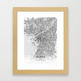 Osaka, Japan - Light Map Framed Art Print