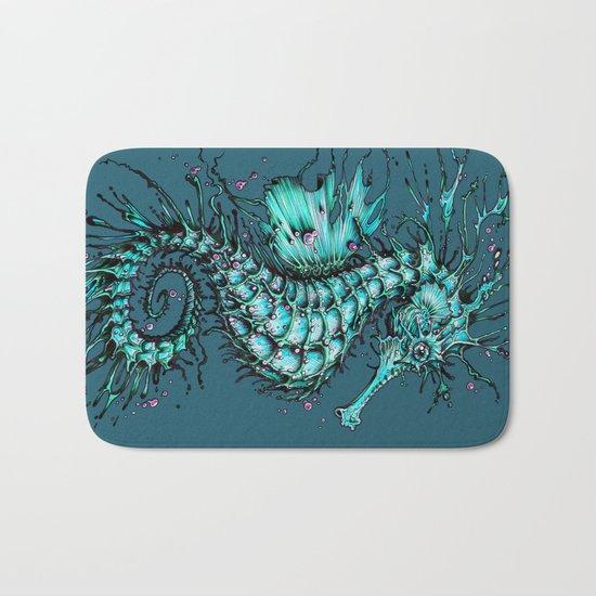 Cyan Seahorse Bath Mat