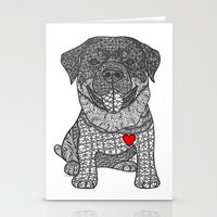 rottweiler Stationery Cards featuring Courageous Heart- Rottweiler by DiAnne Ferrer