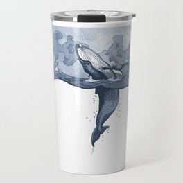 Hump Back Whale breaching in Stormy Seas with tiny boat - nautical themed illustration Travel Mug