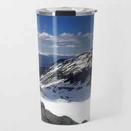 Mountains dappled with snow and rock Travel Mug