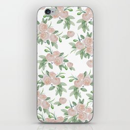 Watercolor blush coral pink forest green floral iPhone Skin