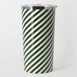 Small Dark Forest Green and White Candy Cane Stripes Travel Mug