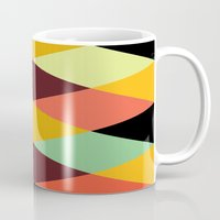 diamonds Mugs featuring multicolor diamond pattern by Gary Andrew Clarke